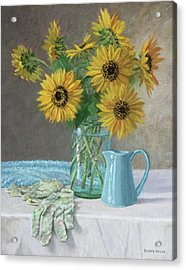 Homegrown - Sunflowers In A Mason Jar With Gardening Gloves And Blue Cream Pitcher Acrylic Print