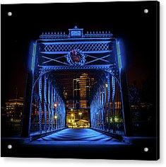 Homeless Winter Night On Wells Street Bridge - Fort Wayne Indiana Acrylic Print