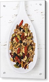 Homemade Granola In Spoon Acrylic Print by Elena Elisseeva