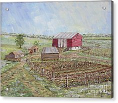 Homeplace - The Barn And Vegetable Garden Acrylic Print by Judith Espinoza
