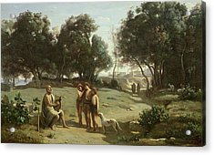Homer And The Shepherds In A Landscape Acrylic Print by Jean Baptiste Camille Corot