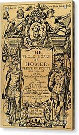 Homer Title Page, 1616 Acrylic Print