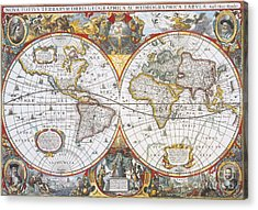 Hondius World Map, 1630 Acrylic Print by Photo Researchers