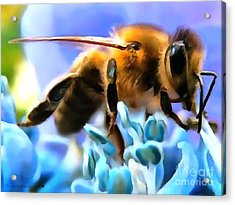 Honey Bee In Interior Design Thick Paint Acrylic Print