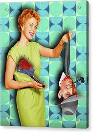 Honey I'm Home 1950s Severed Head Acrylic Print by Tony Rubino