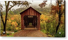 Acrylic Print featuring the photograph Honey Run Covered Bridge In Autumn by James Eddy
