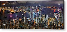 Hong Kong At Dusk Acrylic Print by Jeff S PhotoArt