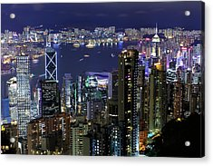 Hong Kong At Night Acrylic Print