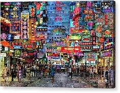 Hong Kong City Nightlife Acrylic Print