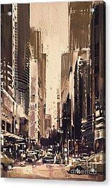 Hong-kong Cityscape Painting Acrylic Print