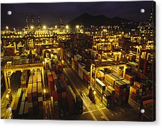 Hong Kong Container Terminal, One Acrylic Print by Justin Guariglia