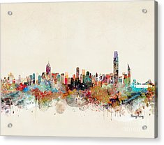 Acrylic Print featuring the painting Hong Kong Skyline by Bri B