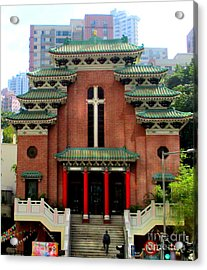 Acrylic Print featuring the photograph Hong Kong Temple by Randall Weidner