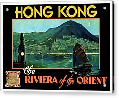 Hong Kong The Riviera Of The Orient - Restored Acrylic Print