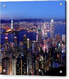 Hong Kong Victoria Harbor At Night Acrylic Print by Sam