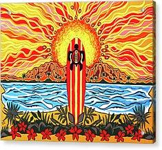 Honu Surf Acrylic Print by Debbie Chamberlin
