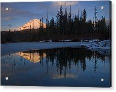 Hood Alpenglow Acrylic Print by Mike  Dawson