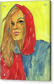 Acrylic Print featuring the painting Hoody by P J Lewis