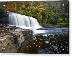 Hooker Falls In Autumn - Fall Foliage In Dupont State Forest Acrylic Print by Dave Allen