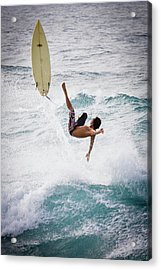 Hookipa Maui Flying Surfer Acrylic Print by Denis Dore