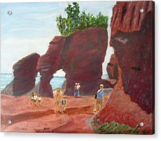 Acrylic Print featuring the painting Hopewell Rocks2 by Linda Feinberg