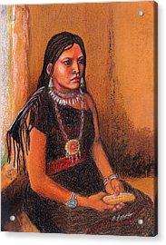 Hopi Girl Acrylic Print by Barbara Lowe
