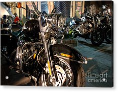 Horizontal Front View Of Fat Cruiser Motorcycle With Chrome Fork Acrylic Print