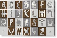 Horizontal Neutral Animal Alphabet Complete Poster Acrylic Print