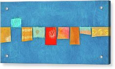 Horizontal String Of Colorful Prayer Flags 1 Acrylic Print