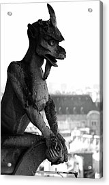 Horned Gargoyle Atop Gothic Notre Dame Cathedral Overlooking Paris France Black And White Acrylic Print