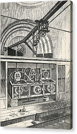 Horology. Working Parts Of The Clock At Acrylic Print by Vintage Design Pics