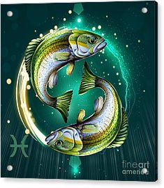 Horoscope Signs-pisces Acrylic Print by Bedros Awak