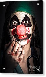 Horror Clown Girl In Silence With Stitched Lips Acrylic Print by Jorgo Photography - Wall Art Gallery