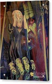 horror fantasy art - The Green Scream Acrylic Print by Sharon Hudson