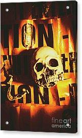Horror Skulls And Warning Tape Acrylic Print