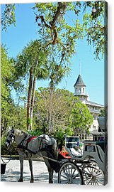 Horse And Carriage At Jekyll Island Club Hotel Acrylic Print by Bruce Gourley