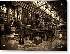 Horse And Cart Loading Train Acrylic Print by Clare Bambers