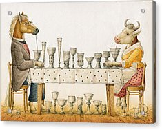 Horse And Cow Acrylic Print by Kestutis Kasparavicius