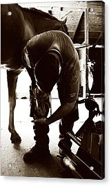 Horse And Farrier Acrylic Print by Angela Rath