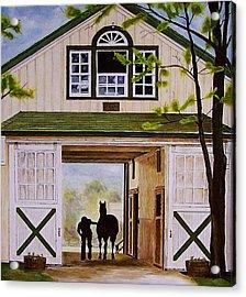 Horse Barn Acrylic Print by Michael Lewis