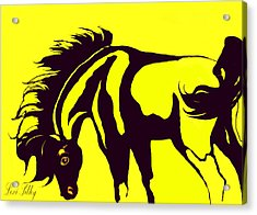 Horse-black And Yellow Acrylic Print