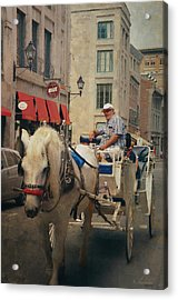 Horse Drawn Carriage - Old Montreal Acrylic Print by Maria Angelica Maira