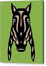 Horse Face Rick - Horse Pop Art - Greenery, Hazelnut, Island Paradise Blue Acrylic Print by Manuel Sueess