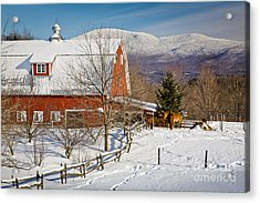 Horse Farm And Mount Mansfield Acrylic Print by Susan Cole Kelly
