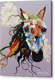 Acrylic Print featuring the painting Puzzle Horse Head  by Rosario Piazza