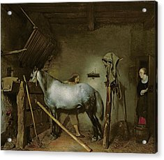 Horse In A Stable Acrylic Print by Gerard Terborch