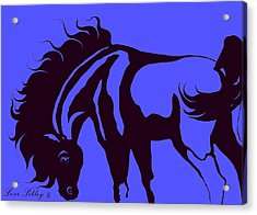 Horse In Blue And Black Acrylic Print by Loxi Sibley