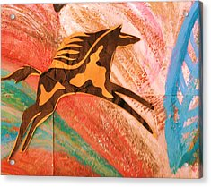 Horse Jumping Over Colors Acrylic Print by Anne-Elizabeth Whiteway