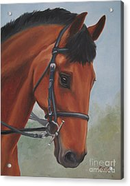 Acrylic Print featuring the painting Horse Portrait by Jindra Noewi