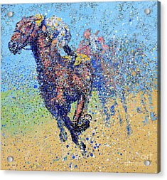 Horse Race On Blue Acrylic Print by Michael Glass